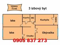Na predaj 3 izbový byt VNKS v Banskej Bystrici, mestská časť Sásová – realitná kancelária Xemar